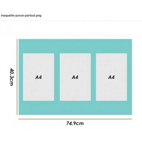 Trytique A4 - Ext.: 74,9 x 40,3cm - Blanc vergé 3,3mm (3045) Ticket: 195617531