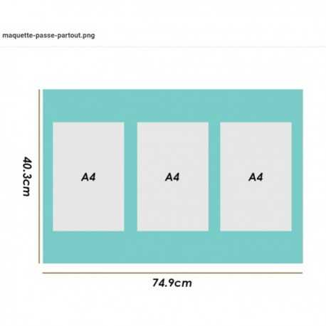Trytique A4 - Ext.: 74,9 x 40,3cm - Blanc vergé 3,3mm (3045) Ticket: 195617531